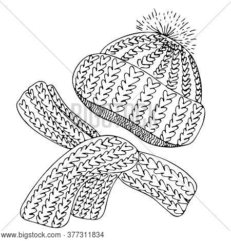 Warm Knitted Set Of Hats With A Pompom And Scarf, Freehand Drawing, Vector Element In Doodle Style,