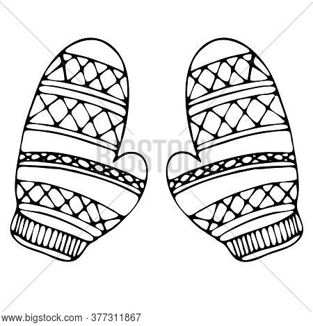Warm Knitted Mittens, Freehand Drawing, Vector Element In Doodle Style, Coloring Book, Black Outline
