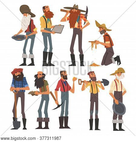 Male Prospectors Characters Set, Bearded Gold Miners Characters Wearing Vintage Clothes With Tools F