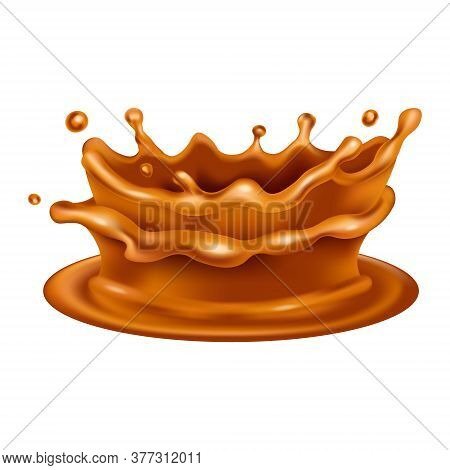 Caramel Splash Crown. Realistic 3d Vector Brown Flow Icon. Melted Toffee Design Isolated On White Ba