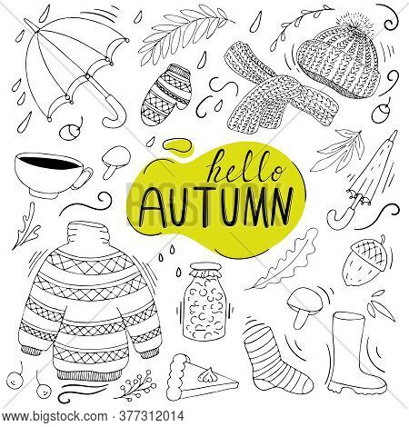 Warm Cozy Set Of Items For Autumn - Warm Clothes And Shoes, Umbrellas, Forest Mushrooms And Acorns,