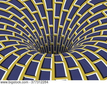 Rotating Hole Of Moving Blue Yellow Brickwork Pattern. Vector Optical Illusion Illustration.