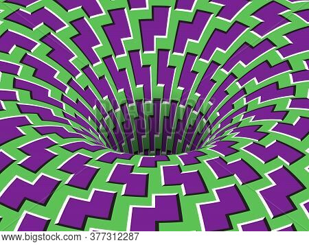 Rotating Hole Of Moving Purple Green Zigzag Shapes Pattern. Vector Optical Illusion Illustration.