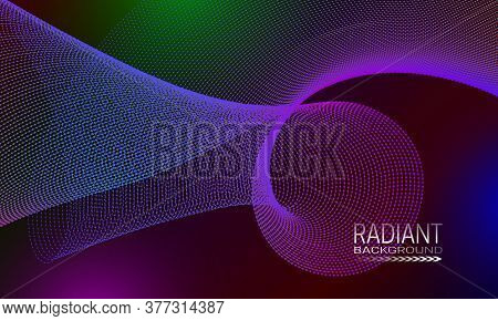 Radiant Futuristic Background Design With Multicoloured Dots And Lines Array. Abstract Space Curvatu