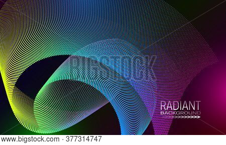 Radiant Futuristic Background Design With Dotty Curved Element. Abstract Cyberspace Background.