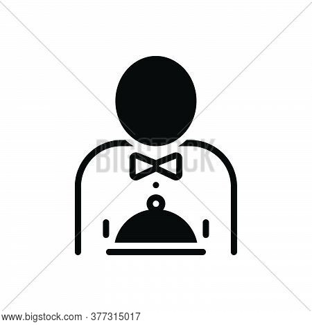Black Solid Icon For Hotel-service Hotel Service Catering Waiter Bellboy Professiona Servant