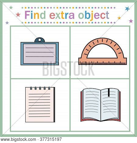 Educational Card For Children, Find An Extra Object That Shows Paper Supplies With Space For Writing