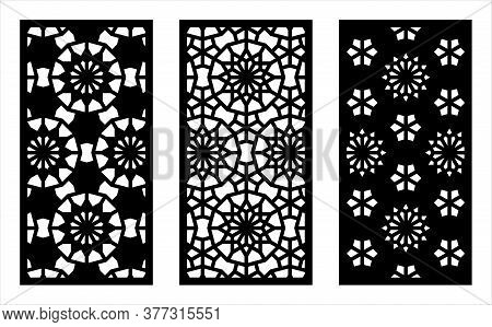 Laser Cutting. Arabesque Decorative Vector Panel Set. Template For Interior Partition In Arabic Styl