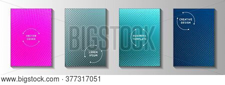 Random Point Faded Screen Tone Cover Templates Vector Set. Urban Poster Perforated Screen Tone Backd
