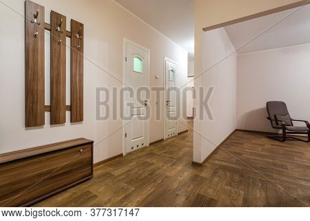 Mimsk, Belarus -  June 2020: Doors In Modern Entrance Hall Of Corridor In Expensive Apartments