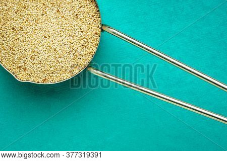 gluten free ivory teff grain in a metal measuring scoop, top view against handmade rag paper, important food grain in Ethiopia and Eritrea