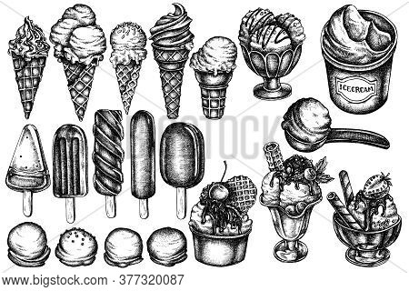 Vector Set Of Hand Drawn Black And White Ice Cream Bowls, Ice Cream Bucket, Popsicle Ice Cream, Ice