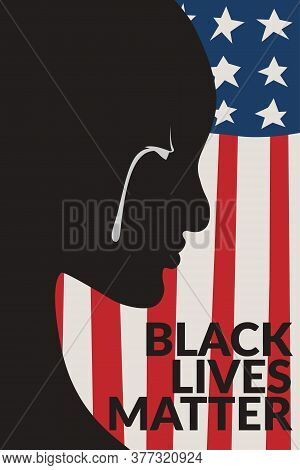 Painting Of Black People With White Tear, Black People Cry Over America Flag Background Illustration