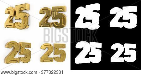 Set Of Golden Number 25 (number Twenty-five) Left Side View And Right Side View, With Alpha Channel