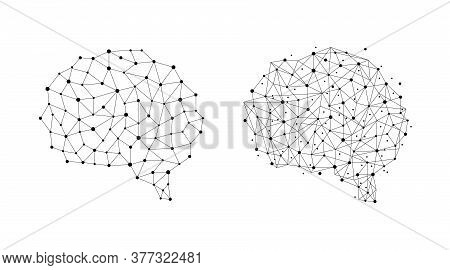 Human Brain From Nodes And Connections As A Symbol Of Thinking. Neural Network. Isolated Vector Illu