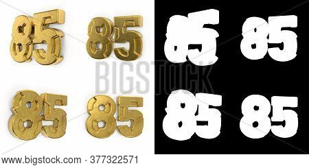 Set Of Golden Number 85 (number Eighty-five) Left Side View And Right Side View, With Alpha Channel