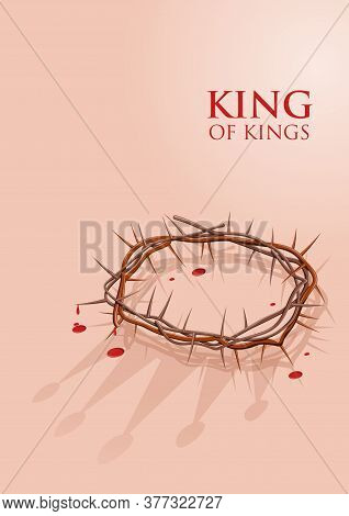 A Crown Of Thorns With The Shadow Of Jesus' True Crown, Stock Illustration