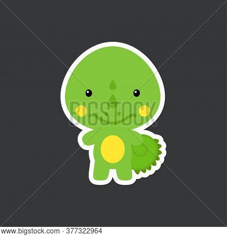 Cute Funny Baby Iguana Sticker. Adorable Animal Character For Design Of Album, Scrapbook, Card, Post