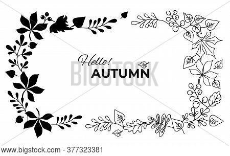 Vector Autumn Wreath Of Falling Leaves And Berries. Horizontal Frame Vignette Of Botanical Elements.