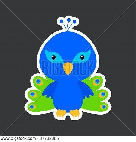 Cute Funny Baby Peacock Sticker. Adorable Bird Character For Design Of Album, Scrapbook, Card, Poste