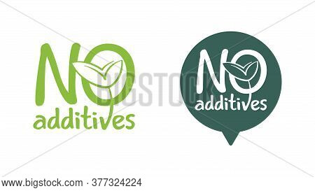 No Additives Sign For Healthy Natural Food Products Composition Labels - Vector Isolated Pictogram I