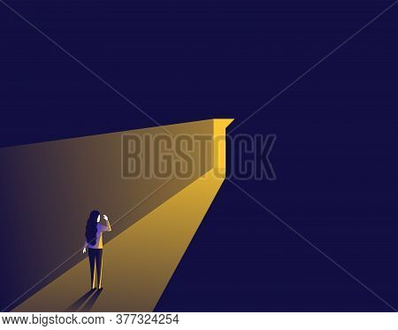Surprised Woman Opening Door With Bright Light Inside - Picture Symbolizing Career, Opportunity, Bus