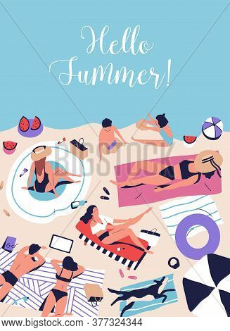 Poster With Sunbathing, Chilling People On Beach Vacation. Hello Summer Handwritten Phrase, Cursive