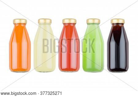 Collection Of Fresh Various Vegetables Juices - Muddy And Transparent In Glass Bottles, Isolated, Mo