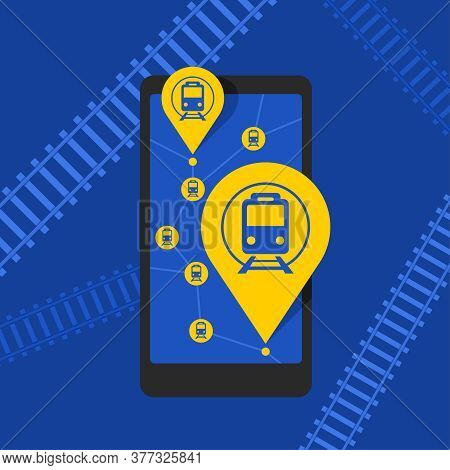 Train Tickets Online - Smartphone With Map And Train Station Pins - Purchase And Search Of Train Rou