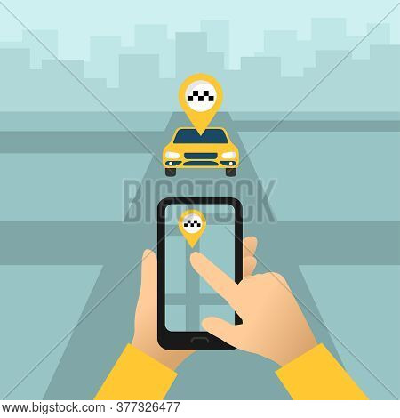 Taxi Call - Hand Holding Smart Phone With City Map And Taxi Location Symbol Displayed On Screen And
