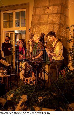 Cracow, Poland - July 3, 2020:  Polish Singer Aga Zaryan And Szymon Mika Performs Live At 25rd Editi