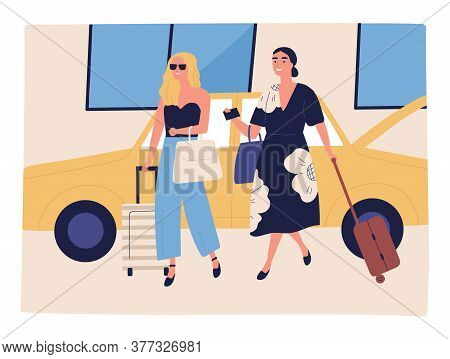 Happy Women Going On Vacation With Baggage Near Yellow Taxi. Depart, Arrival To Airport. Girls In Hu