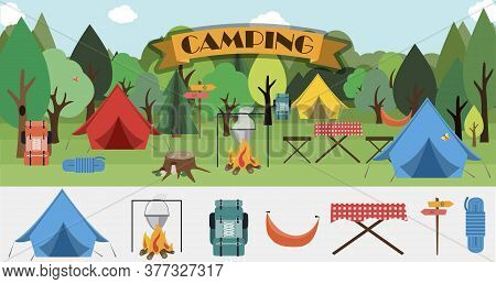 A Set Of Flat Icons For Camping. Equipment For Hiking, Mountaineering And Camping-a Set Of Icons And