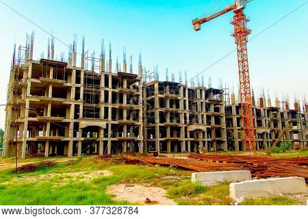 Surat, Gujrat, India,- June 2019 : View Of An New Construction Of Big Building In Surat