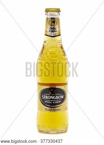 Bucharest, Romania - August 12, 2015. Bottle Of Strongbow Gold Apple, Apple Cider, Isolated On White
