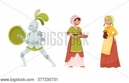 Medieval People With Armored Knight And Peasant Woman Vector Set