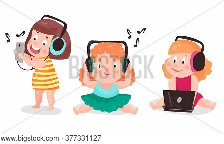 Kid Toddler Using Smartphone And Headphones Listening To Music Vector Illustration Set