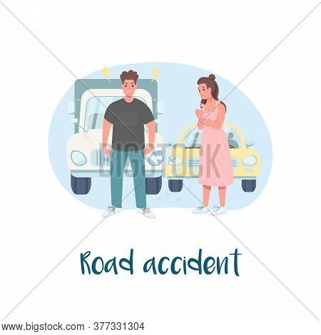 Auto Collision 2d Vector Web Banner, Poster. Road Accident Phrase. Problem With Transport. Conflicte