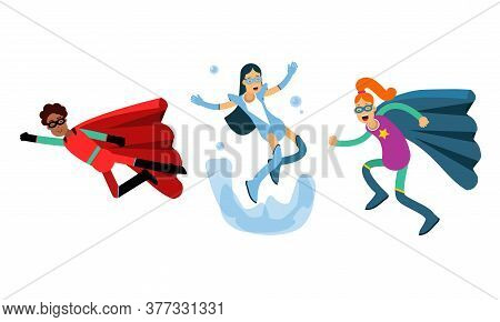 Man And Woman Characters In Superhero Costumes Flying To Rescue Vector Illustration Set