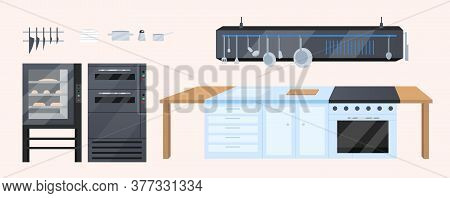 Kitchen Furniture Flat Color Vector Objects Set. Professional Restaurant, Bakery Furnishing. Kitchen