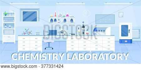 Chemistry Laboratory Banner Flat Vector Template. Pharmacological Research Center Brochure, Booklet