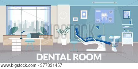 Dental Room Banner Flat Vector Template. Stomatological Clinic Brochure, Booklet One Page Concept De
