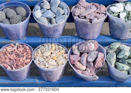 Construction Materials. Natural Stones Are Sold In Construction Market. Building Materials For Decor