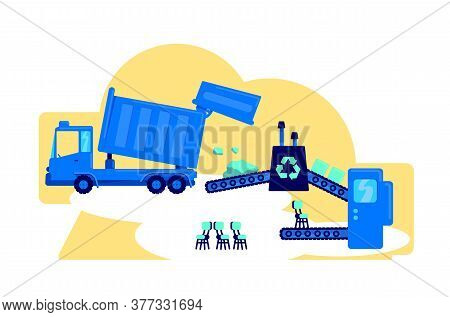 Waste Management Flat Concept Vector Illustration. Factory Conveyor Belt. Convert Rubbish. Reuse Sec