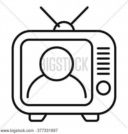 Storyteller Tv Set Icon. Outline Storyteller Tv Set Vector Icon For Web Design Isolated On White Bac