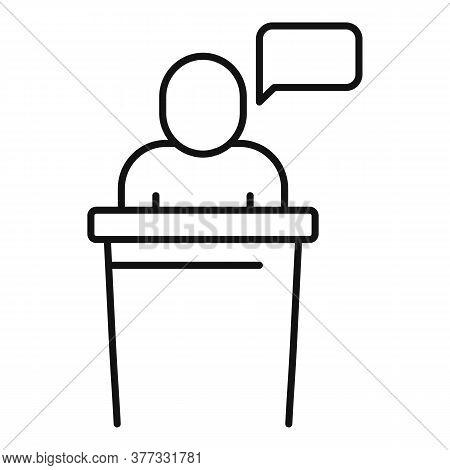 Storyteller Speaker Icon. Outline Storyteller Speaker Vector Icon For Web Design Isolated On White B