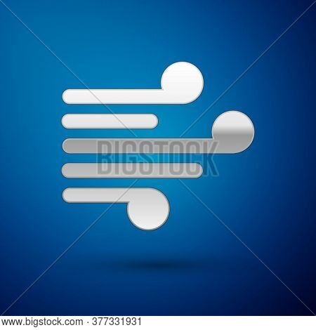 Silver Wind Icon Isolated On Blue Background. Windy Weather. Vector Illustration