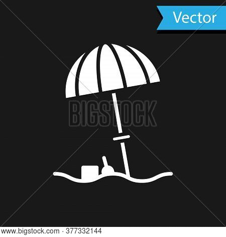 White Sun Protective Umbrella For Beach Icon Isolated On Black Background. Large Parasol For Outdoor