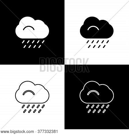Set Cloud With Rain Icon Isolated On Black And White Background. Rain Cloud Precipitation With Rain