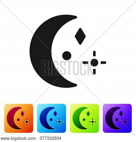 Black Moon And Stars Icon Isolated On White Background. Cloudy Night Sign. Sleep Dreams Symbol. Nigh